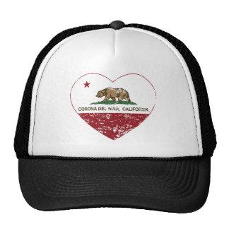 corazón de Corona del Mar de la bandera de Califor Gorro De Camionero