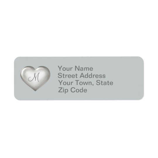 Corazón de cristal de plata del monograma etiquetas de remite