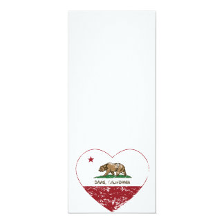corazón de Davis de la bandera de California Invitación 10,1 X 23,5 Cm