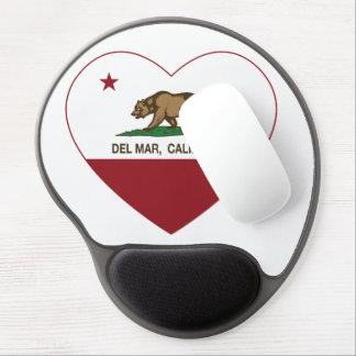 corazón de Del Mar de la bandera de California Alfombrillas De Raton Con Gel