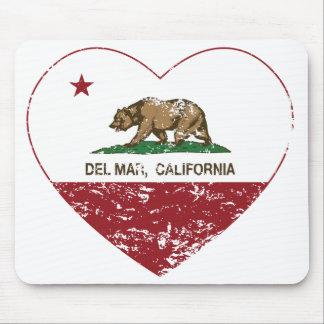 corazón de Del Mar de la bandera de California ape Alfombrilla De Ratón