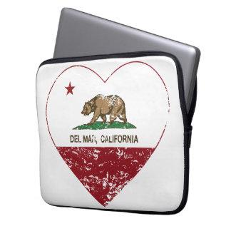 corazón de Del Mar de la bandera de California ape Mangas Portátiles