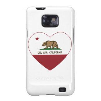 corazón de Del Mar de la bandera de California Galaxy SII Fundas