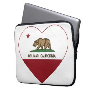 corazón de Del Mar de la bandera de California Funda Portátil