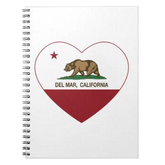corazón de Del Mar de la bandera de California Libros De Apuntes Con Espiral