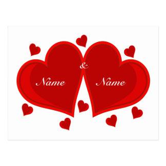 Corazón de dos rojos - postal
