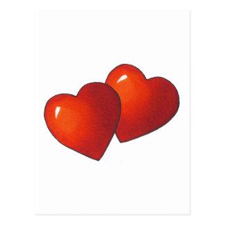 Corazón de dos rojos: Tarjeta del día de San Postal