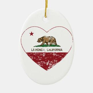 corazón de Honda del la de la bandera de Californi Adornos De Navidad
