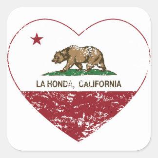 corazón de Honda del la de la bandera de Californi Pegatina Cuadradas