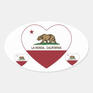corazón de Honda del la de la bandera de Californi Pegatina De Óval Personalizadas