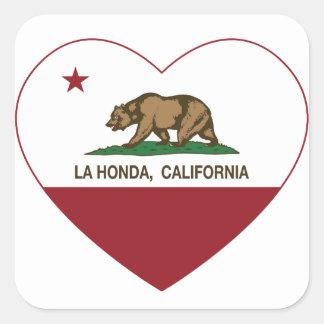 corazón de Honda del la de la bandera de Californi Pegatina Cuadradas Personalizada