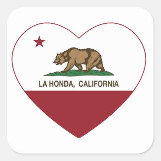 corazón de Honda del la de la bandera de Californi Calcomania Cuadradas