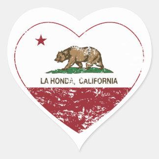 corazón de Honda del la de la bandera de Californi Pegatina De Corazón