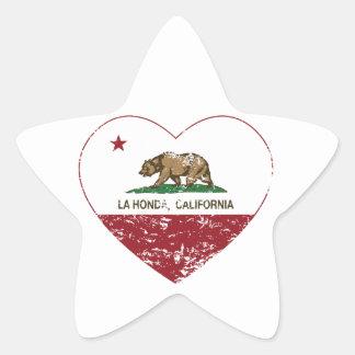 corazón de Honda del la de la bandera de Californi Colcomanias Forma De Estrella