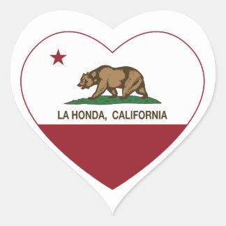 corazón de Honda del la de la bandera de Californi Colcomanias De Corazon