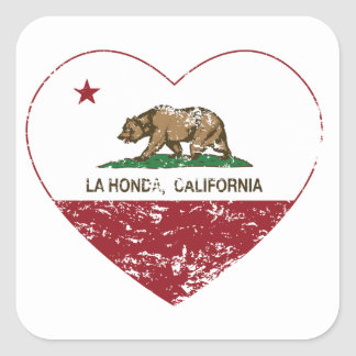 corazón de Honda del la de la bandera de Californi Pegatina Cuadradas Personalizadas