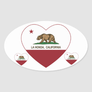 corazón de Honda del la de la bandera de Pegatina De Óval Personalizadas