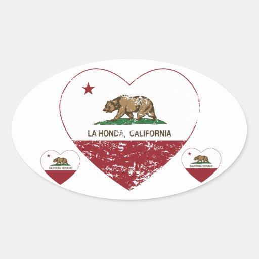 corazón de Honda del la de la bandera de Pegatinas De Ovaladas