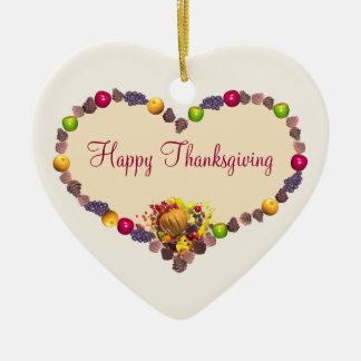 Corazón de la acción de gracias adorno de cerámica en forma de corazón