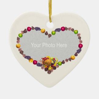 Corazón de la acción de gracias (marco de la foto) adorno de cerámica en forma de corazón