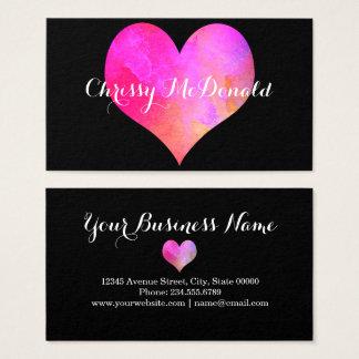 Corazón de la acuarela con la información tarjeta de visita