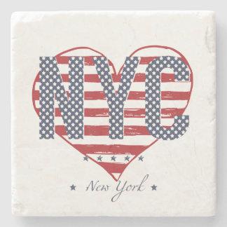 Corazón de la bandera americana de NYC Posavasos De Piedra