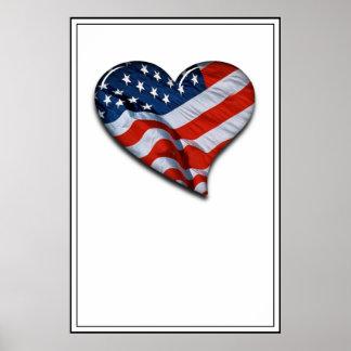 Corazón de la bandera americana póster