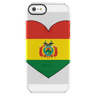 Corazón de la bandera de Bolivia Funda Transparente Para iPhone SE/5/5s