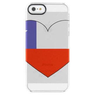 Corazón de la bandera de Chile Funda Transparente Para iPhone SE/5/5s