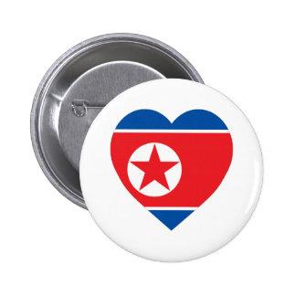 Corazón de la bandera de Corea norte Pins