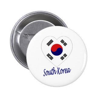 Corazón de la bandera de Corea sur Pin
