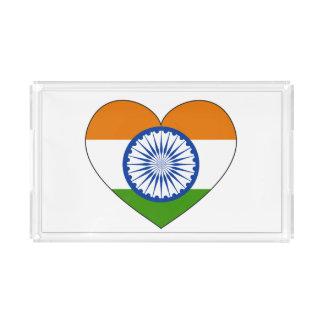 Corazón de la bandera de la India Bandeja Acrílica