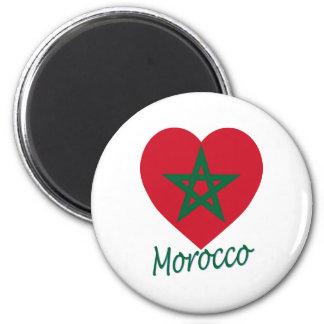 Corazón de la bandera de Marruecos Imán De Frigorífico