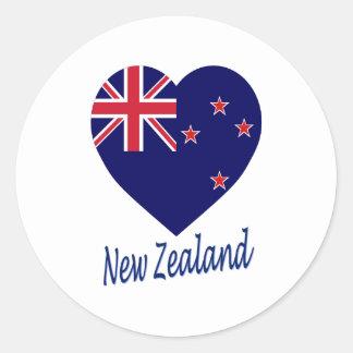 Corazón de la bandera de Nueva Zelanda Etiqueta Redonda