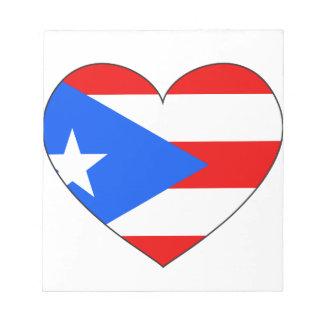 Corazón de la bandera de Puerto Rico Bloc De Notas