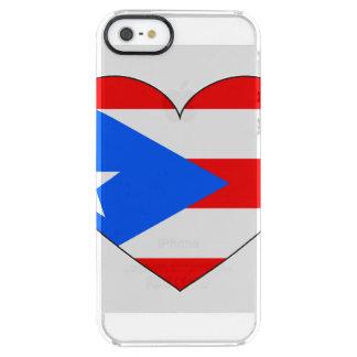 Corazón de la bandera de Puerto Rico Funda Transparente Para iPhone SE/5/5s
