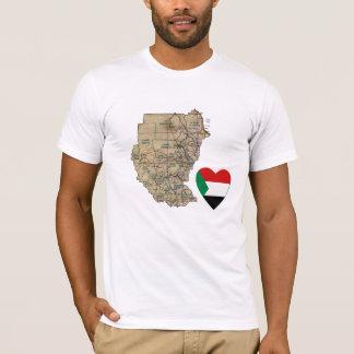Corazón de la bandera de Sudán y camiseta del mapa