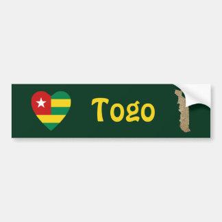 Corazón de la bandera de Togo + Pegatina para el p Pegatina Para Coche