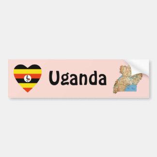 Corazón de la bandera de Uganda + Pegatina para el Pegatina Para Coche