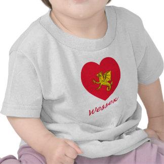 Corazón de la bandera de Wessex con nombre Camiseta