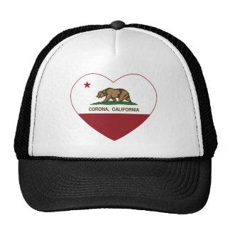 corazón de la corona de la bandera de California Gorros Bordados