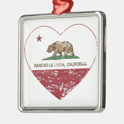 corazón de La Costa del rancho de la bandera de Ca Ornaments Para Arbol De Navidad