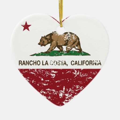 corazón de La Costa del rancho de la bandera de Ca Ornamento De Navidad