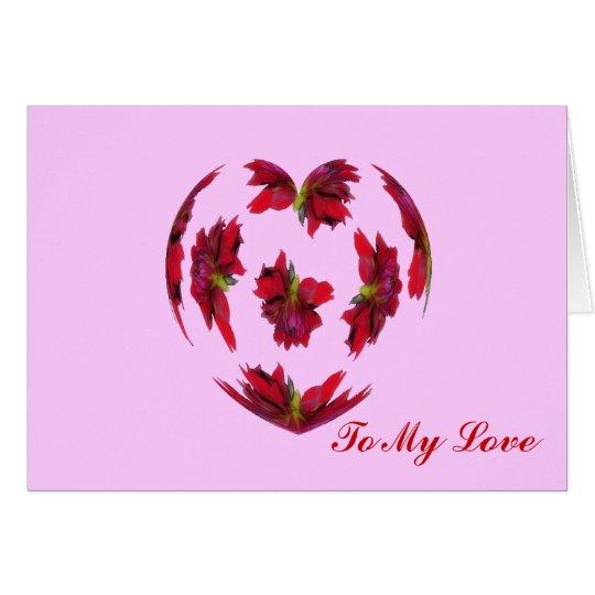 Corazón de la dalia tarjeta de felicitación