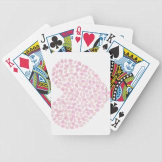 Corazón de la flor de cerezo barajas de cartas