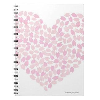 Corazón de la flor de cerezo libros de apuntes