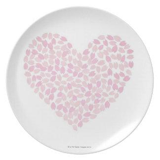 Corazón de la flor de cerezo plato de cena