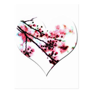 Corazón de la flor de cerezo postal