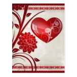 Corazón de la flor tarjetas postales