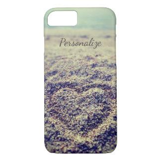 Corazón de la foto de la playa del vintage en caso funda para iPhone 8/7